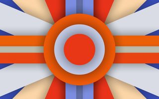 Картинка Android, 5.0, Abstraction, Material, Orange, Circle, Colors, Design, Stripes, Lollipop, Line, Blue