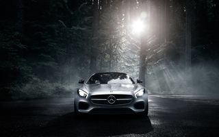 Обои Mercedes-Benz, 2016, Color, Silver, GT S, Forest, Dark, Front, AMG, Sun