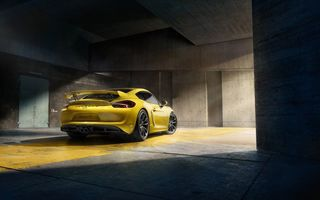 Обои Porsche, GT4, Supercar, 2015, Rear, Yellow, Cayman, Parking