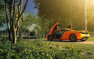 Обои McLaren, Wheels, MP4-12C, Orange, Sun, ADV.1, Supercar, Rear