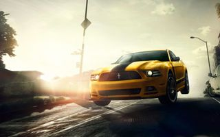 Картинка Ford, Sun, Speed, Yellow, Car, Front, Boss, Jump, San Francisco, 302, Muscle, Street, Mustang