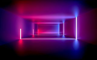 Картинка дизайн, neon, abstract, light, room, design, неон