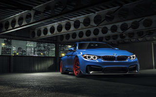 Картинка BMW, Vorsteiner, Widebody, Photoshoot, Front, City, GTRS4, Nigth, Wheels, Blue