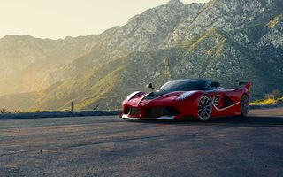 Обои Ferrari, Front, Sunset, Red, FXX K, Road, Moutian, Race, Supercar, Sun