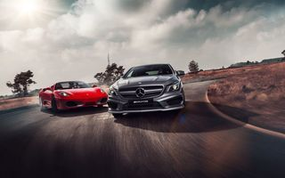 Обои Ferrari, Supercars, AMG, CLA 45, Red, Drifting, Colors, Mercedes-Benz, Skid, Grey, F430