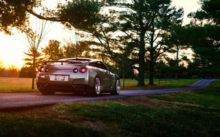 Обои Nissan, GT-R, Summer, Sun, Rear, Grass, R35, Road, Back