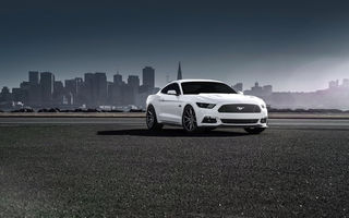 Обои Ford, Front, Car, Vossen, Wheels, 2015, Muscle, White, Mustang