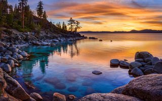 Обои California, камни, озеро, Lake tahoe, закат, Sierrа, Lake, Nevada
