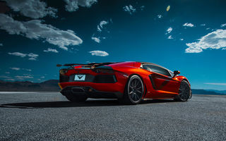 Обои Lamborghini, Aventador-V, Clouds, Desert, Supercar, Zaragoza, Sky, Vorsteiner, LP740-4, Orange, Rear