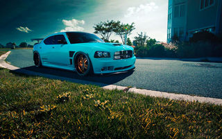 Обои Dodge, Charger, Car, Blooded, Blue, SRT8, Rides, Front