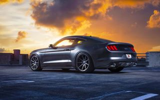 Обои Ford, Wheels, Mustang, Sky, Car, Clouds, Velgen, Rear, Muscle, 2015, Sunset