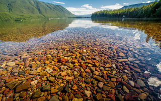 Обои Glacier National Park, Lake McDonald, природа, Nature, Montana, озеро, Landscape, вода, камни