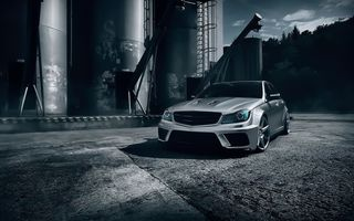 Обои Mercedes-Benz, Color, Front, Black, C63, T-Modell, Silver, Series, AMG