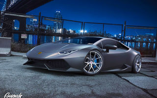 Обои Lamborghini, Huracan, by Gurnade, Grey, Wheels, Front, Nigth, LP640-4, City, Supercar, HRE