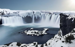 Обои Godafoss, Iceland, Waterfall, Ice