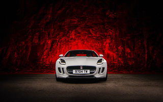 Обои Jaguar, Front, White, Red, F-Type, Ligth, Sport, Car