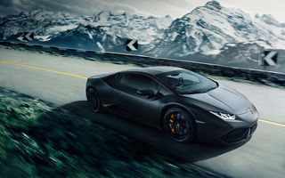 Обои Lamborghini, Road, Speed, LP640-4, Huracan, Mountain, Black, Supercar