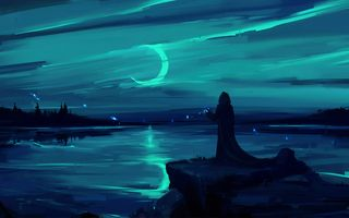 Картинка moon, fantasy, cloak, landscape, night, magic, figure, painting, sorcerer, environment, atmosphere, artwork, digital art, lake, man, fantasy art