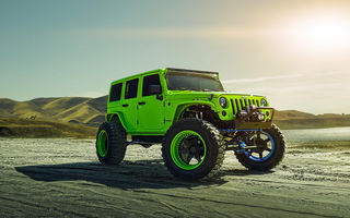 Обои Jeep, Track, Forged, Sun, Custom, Front, Wheels, Wrangler, ADV1, Function, Green