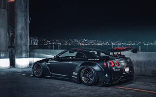 Обои Nissan, Car, Black, Low, Matte, Rear, Liberty, R35, Nigth, GT-R, Sport, Japan, City