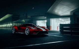 Обои Ford, Red, GT, Color, 2016, Supercar, Track, Night