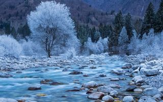 Картинка forest, spring, Soča River, water, river, Slovenia, landscape, rocks, trees, nature, mountains, winter, photography, long exposure
