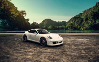 Обои Porsche, 911, 4S, White, Supercar, Mountains, Carrera, Landscape