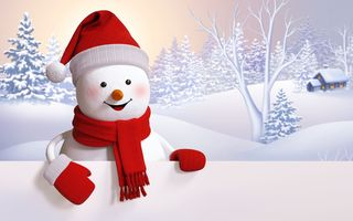 Картинка snowman, winter, happy, snow, снеговик, cute