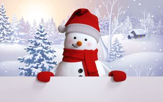 Обои snowman, happy, snow, winter, снеговик, cute