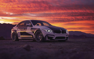 Обои BMW, Light, M3, Clouds, White, Black, Front, Sky, Sunset, And
