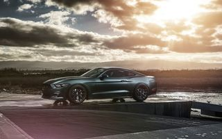 Обои Ford, Sun, Car, GT, Muscle, Wheels, Mustang, Velgen, 2015, Sunset, Front