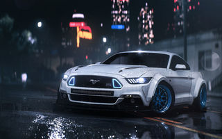 Обои Ford, Front, GT, Mustang, Musle, Night, RTR, 2016, Rain, Car