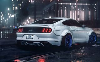 Обои Ford, GT, Rear, 2016, Night, RTR, Car, Musle, Rain, Mustang