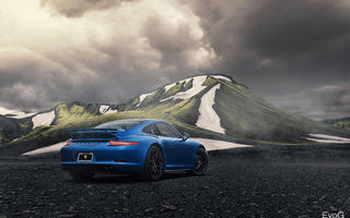Обои porsche, blue, 911, gts, car, evoG photography