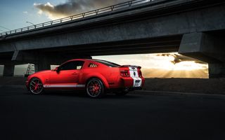 Обои Ford, Aristo, Sunset, Muscle, Red, GT500, Mustang, Shelby, Light, Rear, Car, Collection