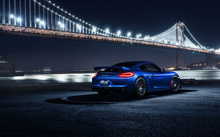 Обои Porsche, Blue, Night, Car, Rear, GT4, Sport, Cayman, Bridge