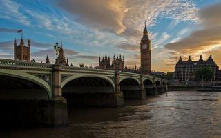 Обои Англия, Темза, часы, башня, Bridge, Big Ben, Лондон, Westminster, город, река, мост, Биг Бэн