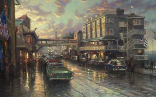 Картинка Томас Кинкейд, Cannery Row Sunset, Консервный ряд закат, Thomas Kinkade, american painter, американский художник