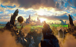 Обои fantasy, beauty, clouds, magic, oz the great and powerful, air baloon, rock, 2013 movie, story