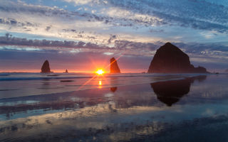 Картинка oregon, орегон, cannon beach, pacific ocean, тихий океан, haystack rock, скалы