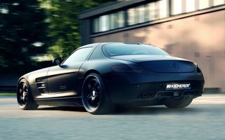 Обои sls, tuning, mercedes benz, 2012, car, mate, supercharged gt, kicherer, black