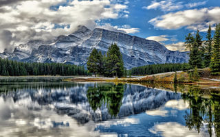 Обои vermillion lakes, alberta, canada, mount rundle, banff national park, озёра вермилион