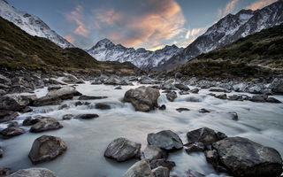 Обои mount cook national park, hooker river, new zealand