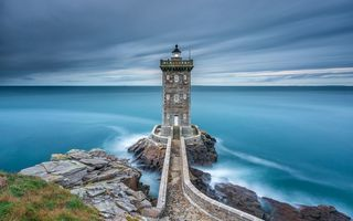 Обои море, Brittany, sea, lighthouse, Бретани, Керморван, Kermorvan, Франция, France, маяк