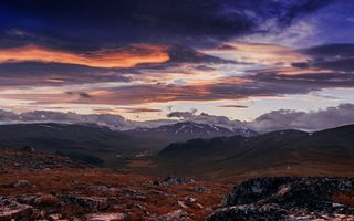 Обои закат, clouds, sunset, небо, sky, горы, mountains, облака