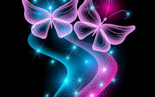 Обои neon, бабочки, glow, неоновые, sparkle, butterflies, pink, blue, abstract