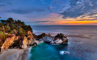 Картинка california, pacific ocean, mcway falls, big sur, julia pfeiffer burns state park