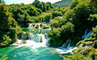 Обои деревья, croatia, krka national park, хорватия, водопад, зелень