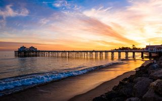 Обои Malibu, sunset, landscape, shore, sea, PEARCE