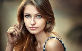 Обои women, face, depth of field, portrait